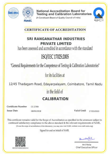 NABL Certificate Mechanical Calibration